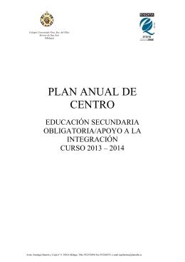 PLAN ANUAL DE CENTRO - Colegio Nuestra Señora del Pilar
