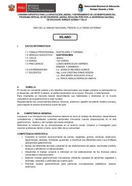 Gastronomía - Universidad Nacional de Educación Enrique Guzmán
