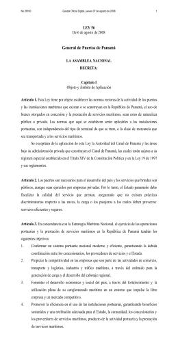 Ley de Puertos - Autoridad Marítima de Panamá