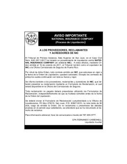 AVISO IMPORTANTE - Oficina del Comisionado de Seguros
