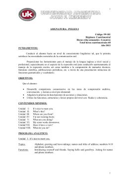 ASIGNATURA: INGLES PRIMER NIVEL COMUN