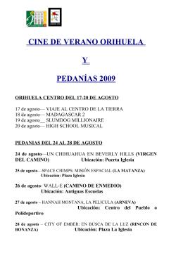 CINE DE VERANO ORIHUELA Y PEDANÍAS 2009