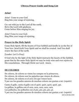 Ultreya Prayer Guide and Song List Arise! Arise