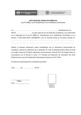 DECLARACION JURADA DE DOMICILIO (Ley Nº 28882, Ley de