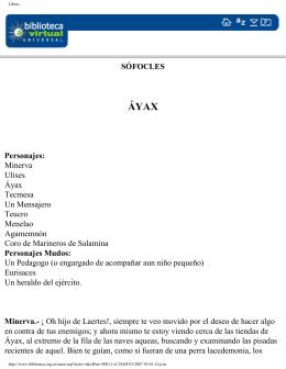 SÓFOCLES Personajes: Minerva Ulises Áyax
