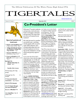 The September 2014 TigerTales is available to view now!