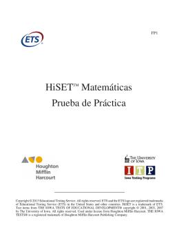 HiSET Mathematics Practice Test--Spanish