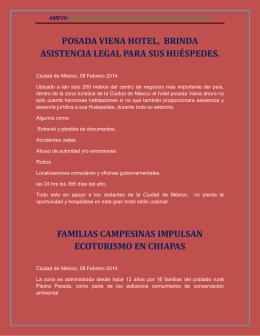 POSADA VIENA HOTEL, BRINDA ASISTENCIA LEGAL