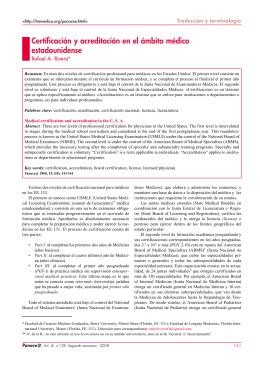 Certificación y acreditación en el ámbito médico