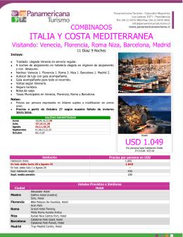 ITALIA Y COSTA MEDITERRANEA