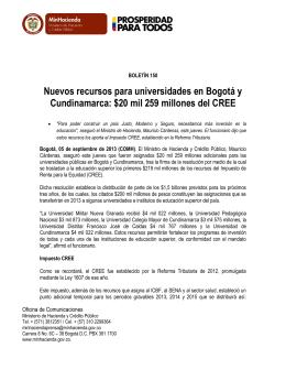 Boletín No. 00150 Nuevos recursos para universidades en Bogotá y