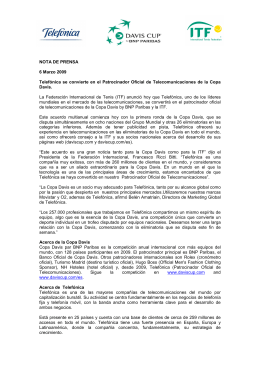 NOTA DE PRENSA 6 Marzo 2009 Telefónica se convierte en el