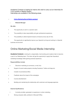 Online Marketing/Social Media Internship