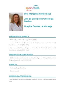 Dra. Margarita Feyjóo Saus Jefe de Servicio de Oncología Médica