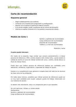 Modelos de Carta de recomendación