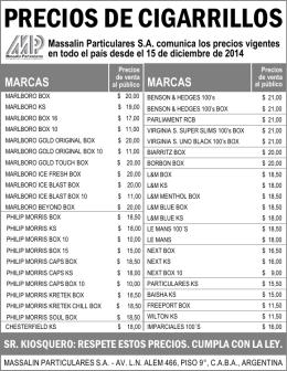 PRECIOS DE CIGARRILLOS Massalin Particulares