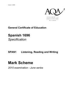 Mark Scheme - spanishatstmalachys