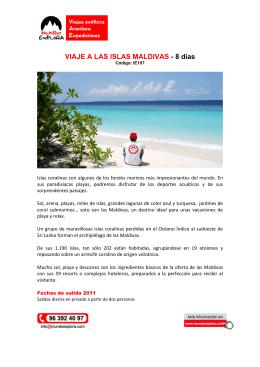 VIAJE A LAS ISLAS MALDIVAS - 8 días