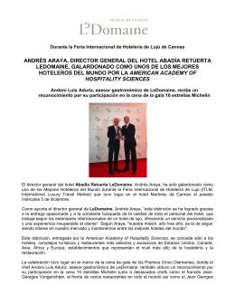 ANDRÉS ARAYA, DIRECTOR GENERAL DEL HOTEL ABADÍA