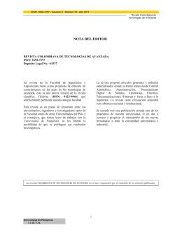 NOTA DEL EDITOR - Universidad de Pamplona