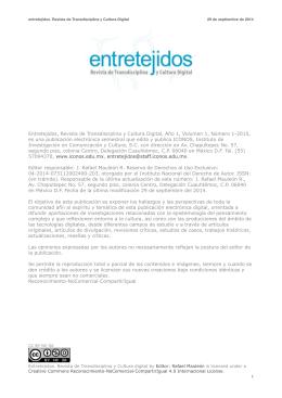 Entretejidos, Revista de Transdisciplina y Cultura Digital, Año 1
