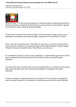 Lotería Nacional entrega cheques premios atrasados por valor RD