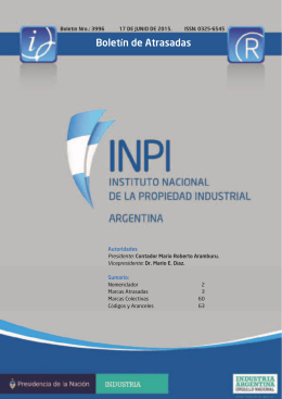 Boletín de Atrasadas - Instituto Nacional de la Propiedad Industrial