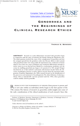 Gonorrhea and the Beginnings of Clinical Research Ethics
