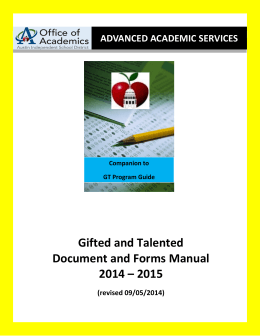 Gifted and Talented Document and Forms Manual