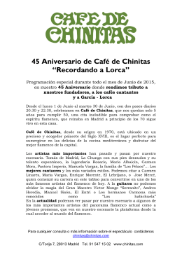 """45 Aniversario de Café de Chinitas """"Recordando a Lorca"""""""