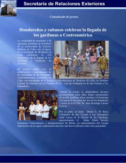 Hondureños y cubanos celebran la llegada de los garífunas a
