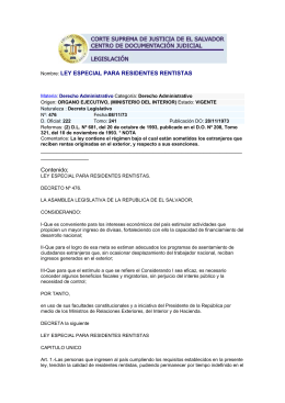 LEY ESPECIAL PARA RESIDENTES RENTISTAS