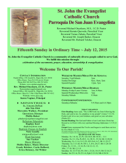 July 12, 2015 - St. John the Evangelist Catholic Church