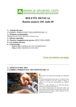BOLETÍN MENSUAL Boletín número 105. Julio 09