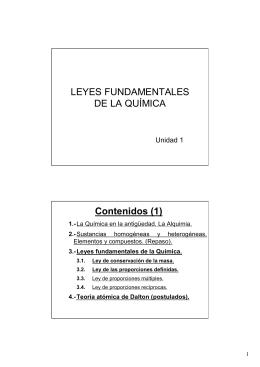 LEYES FUNDAMENTALES DE LA QUÍMICA Contenidos (1)