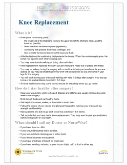 Knee Replacement - Sunflower Health Plan