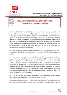 REGLAMENTO DE GESTIÓN DEL LIBRO GENEALÓGICO DEL
