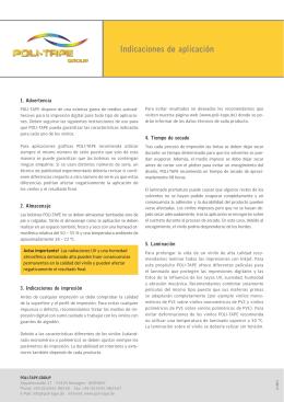 Indicaciones de aplicación - POLI-TAPE
