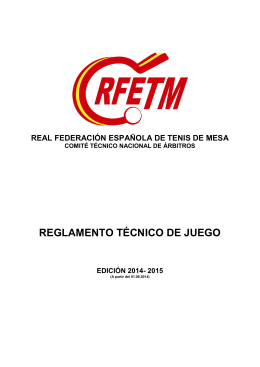 Reglamento Técnico de Juego Temporada 2014-2015