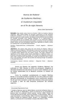 Acerca de Roderer de Guillermo Martínez: el mysterium iniquitatis