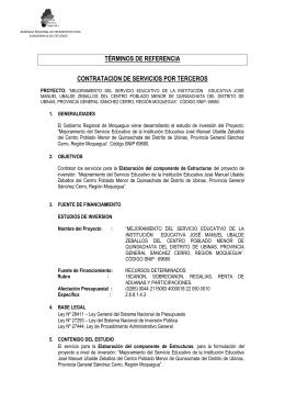 términos de referencia contratacion de servicios por terceros