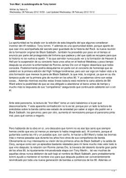 `Iron Man`, la autobiografía de Tony Iommi