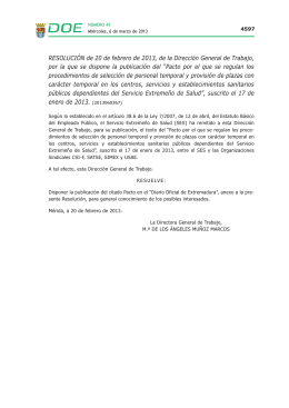 RESOLUCIÓN de 20 de febrero de 2013, de la Dirección General