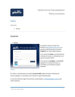 Índice Usuarios - Portal Clientes Piero