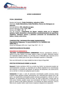 ACIDO CLORHIDRICO FICHA SEGURIDAD Nombre del Producto