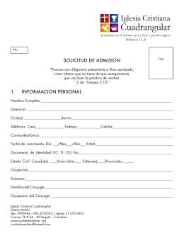 Formato de solicitud de admisión para la escuela ministerial