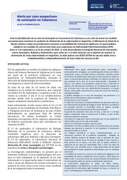 Alerta por caso sospechoso de sarampión en Catamarca