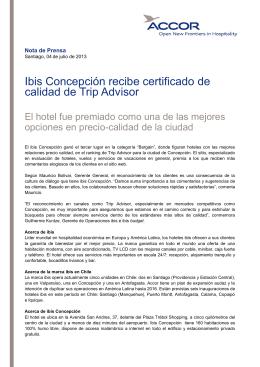 Ibis Concepción recibe certificado de calidad de Trip Advisor