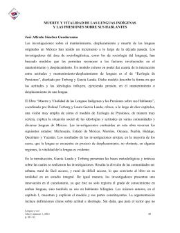 MUERTE Y VITALIDAD DE LAS LENGUAS INDÍGENAS Y LAS