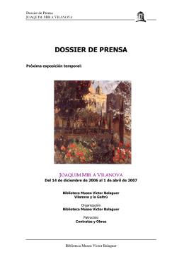 DOSSIER DE PRENSA - Biblioteca Museu Víctor Balaguer